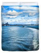 Seattle Washington Cityscape Skyline On Partly Cloudy Day Duvet Cover