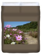 Sensation Cosmos Bipinnatus Fully Bloomed Colorful Cosmos On M Duvet Cover