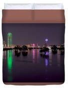 Skyline Of Dallas, Texas At Night Across Flooded Trinity River Duvet Cover