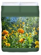 Spring Flowers In The Rain Duvet Cover