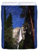 Star Trails At Yosemite Falls Duvet Cover