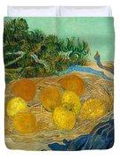 Still Life Of Oranges And Lemons With Blue Gloves Duvet Cover