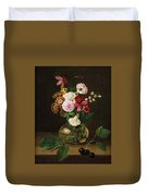 Still Life With Flowers In A Glass Vase And Cherry Twig Duvet Cover