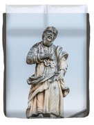 Stone Statue In The Old Town Perast  Duvet Cover