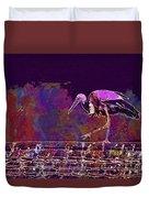 Stork Bird Fly Plumage Nature  Duvet Cover