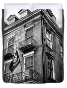 2 Story Building New Orleans Black White  Duvet Cover