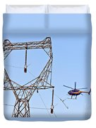 Stringing Power Cable By Helicopter Duvet Cover
