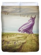 Summer Dress Blowing On Clothesline With Girl Walking Down Path Duvet Cover