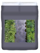 Summer Landscape. Green Trees At Riverbank In Poland. Duvet Cover