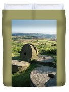 Summer Landscape Image Of Millstones On Top Of Stanage Edge In P Duvet Cover