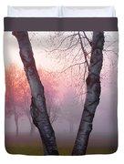 Sunrise Trees Fog Duvet Cover
