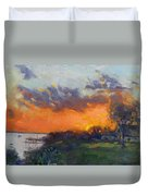 Sunset At Gratwick Waterfront Park Duvet Cover