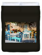 Tables In A Traditional Italian Restaurant In Sicily, Italy Duvet Cover