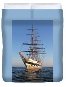 Tall Ship Anchored Off Penzance Duvet Cover