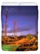 Tall Ships And Yahts Moored In Newport Harbor Duvet Cover