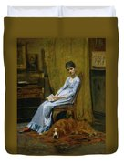 The Artist's Wife And His Setter Dog Duvet Cover