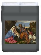 The Holy Family With A Shepherd Duvet Cover