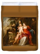 The Holy Family With Saints Francis And Anne And The Infant Saint John The Baptist Duvet Cover