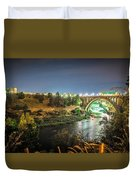The Monroe Street Dam And Bridge At Night, In Spokane, Washingto Duvet Cover