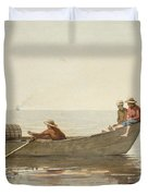 Three Boys In A Dory With Lobster Pots  Duvet Cover