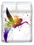 Tinkerbell In Watercolor Duvet Cover