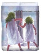 Two Sisters Jumping On The Bed  Duvet Cover