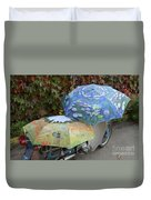 2 Umbrellas On Motorcycle  Duvet Cover