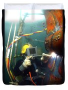 U.s. Navy Diver Welds A Repair Patch Duvet Cover by Stocktrek Images