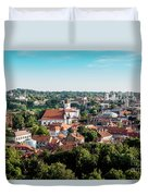 view of downtown in Vilnius city, Lithuanian Duvet Cover