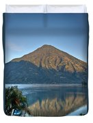 Volcano And Reflection Lake Atitlan Guatemala Duvet Cover