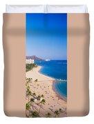 Waikiki Beach And Diamond Head Duvet Cover