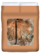 Watercolour Painting Of Beautiful Image Of Red Deer Stag In Fogg Duvet Cover