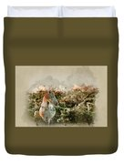 Watercolour Painting Of Beauttiful Close Up Of New Forest Pony H Duvet Cover