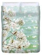 White Cherry Blossoms Trees Duvet Cover