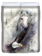White Horse With A Flying Eagle Beautiful Painting Illustration Duvet Cover