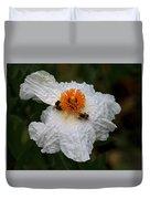 White Poppy And Bee Duvet Cover