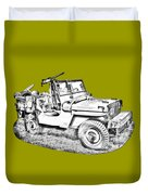 Willys World War Two Army Jeep Illustration Duvet Cover