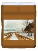 Winter Ice On Lake Michigan Duvet Cover