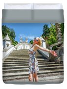 Woman In Portugal Duvet Cover