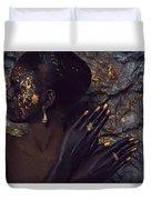 Woman In Splattered Golden Facial Paint Duvet Cover