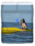 Woman Kayaking Duvet Cover