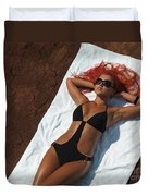 Woman Sunbathing Duvet Cover