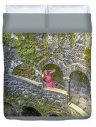 Woman Tourist In Sintra Duvet Cover