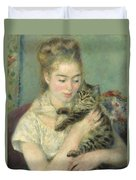 Woman With A Cat Duvet Cover