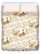 Woodland Fairytale - Animals Deer Owl Fox Bunny N Mushrooms Duvet Cover