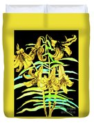 Yellow Lilies, Hand Drawn Painting Duvet Cover