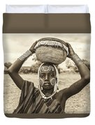 Young Boy From The African Tribe Mursi, Ethiopia Duvet Cover