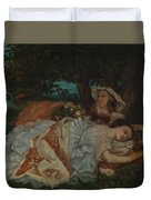 Young Ladies On The Bank Of The Seine Duvet Cover
