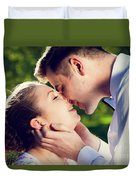 Young Romantic Couple Kissing With Love In Summer Park Duvet Cover