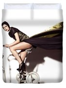 Young Woman In Long Dress On Exercise Bike Duvet Cover